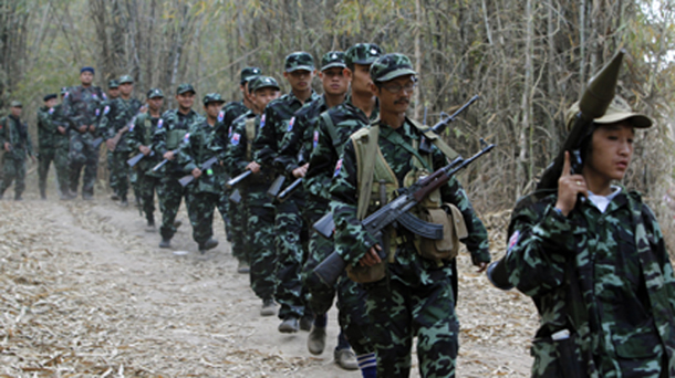 KNU army soldiers march to commemorate the 63rd anniversary of Karen  Revolution Day at Oo Kray Kee Township in the Karen State, along the  Thai-Myanmar border, The Irrawaddy