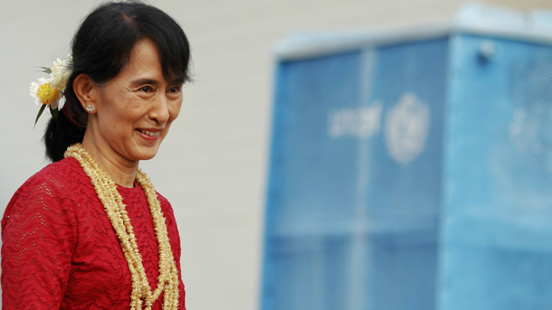 the nld's aung san suu kyi, photographed earlier on sunday in