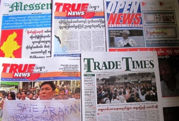 Burmese journals covering news of the Arakan conflict. (Photo: The Irrawaddy)