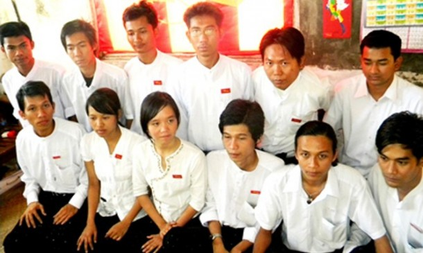 Phyo Phyo Aung, front row, third from left, sits among fellow members of the ABFSU's organizing committee (Photo: abfsu.net)