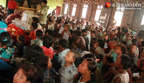 Refugees displaced by the violence in Arakan State take shelter at a monastery. (Photo: The Irrawaddy)