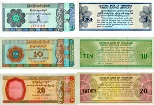 Burmese Foreign Exchange Certificates currently in circulation