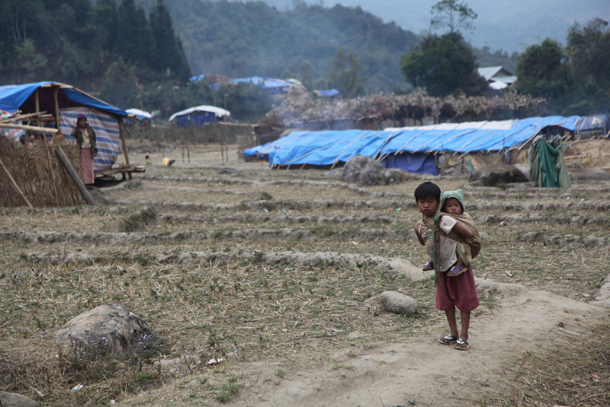 Children shelter at a camp for internally displaced people in Kachin State. (Photo: The Irrawaddy)