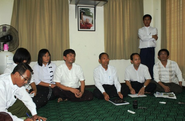 Members of the 88 Generation Students group speak to reporters about recent violence in Arakan State. (Photo: J Paing / The Irrawaddy)