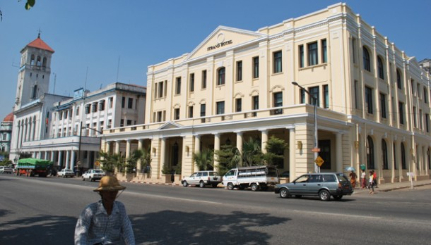 Rangoon's iconic Strand Hotel. (Photo: Colin Hinshelwood / The Irrawaddy)
