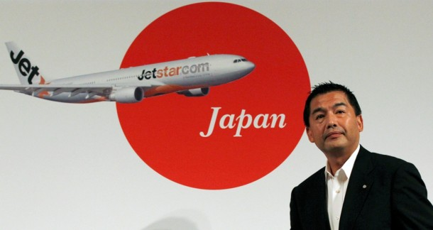 Japan Airlines President Masaru Onishi pictured at joint news conference with Jetstar Group and Mitsubishi Corp. in Tokyo in August 2011 following the announcement that Qantas low-cost subsidiary Jetstar will launch a budget carrier, Jetstar Japan, jointly with Japan Airlines and Mitsubishi Corp. (PHOTO: Reuters)