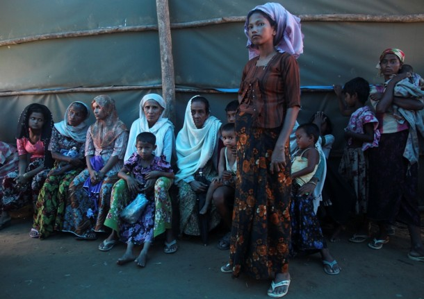 Women wait at a Burmese Red Cross health clinic near Sittwe, the capital of Arakan State. (Photo: Reuters)