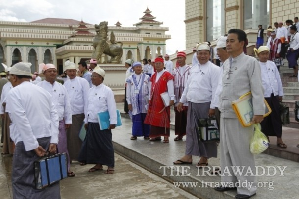 Ethnic MPs stand on the steps of Burma's Lower House of Parliament on July 17, 2012. (Photo: The Irrawaddy)