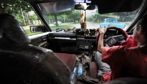 Rangoon's taxis will no longer run on CNG as the government moves to import diesel and octane. (PHOTO: Steve Tickner / THE IRRAWADDY)