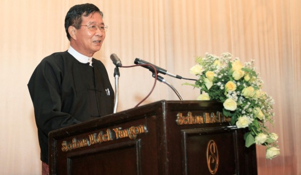 Aung Min speaks during a welcoming ceremony for leaders of the Karen National Union at the Sedona Hotel in Rangoon on April 5, 2012. (Photo: Reuters)
