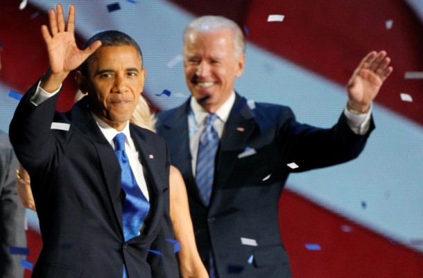 US President Barack Obama and Vice-President Joe Biden celebrate at their election night victory rally in Chicago. (Photo: Reuters)