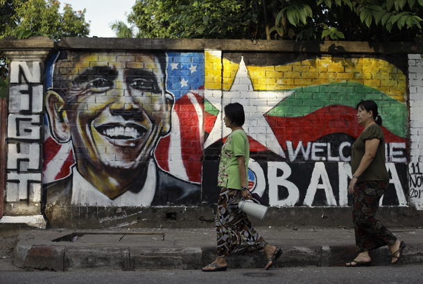 A portrait mural of US President Barack Obama on a wall in Rangoon's Tamwe Township. (Photo: Reuters)