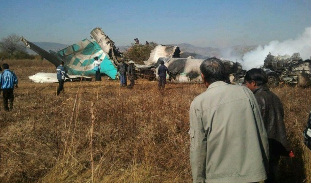 An Air Bagan plane crashed in Heho, Shan State, on Dec. 25, 2012. (Photo: Reuters)
