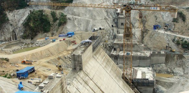 The Myitsone Dam project on the Irrawaddy River in Kachin State. (Photo: Jingpaw Targyi)