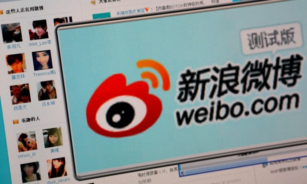 The logo of Sina Corp's Chinese microblog website Weibo on a screen in Beijing. (Photo: Reuters)