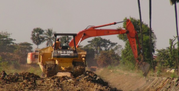 Development of a dam project in Mudon Township, Mon State, has destroyed more than 5,000 acres of rice paddies, according to farmers in the area. (Photo: Muang Ra / The Irrawaddy)