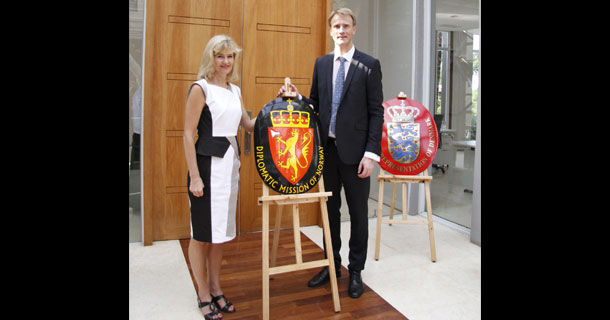 Norway's Ambassador to Myanmar Katja Nordgaard, left, at the opening of the country's new embassy in Yangon.