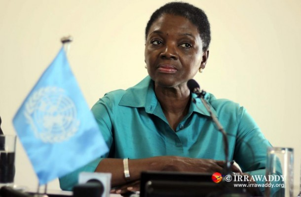 Baroness Valerie Amos at the press conference in Rangoon on Friday. (Photo: JPaing / The Irrawaddy)
