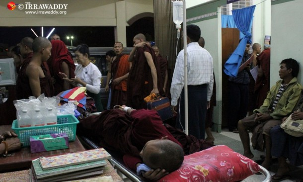 Injured monks being transferred from Monywa to Mandalay General Hospital after the government's brutal crackdown. (Photo: JPaing / The Irrawaddy)
