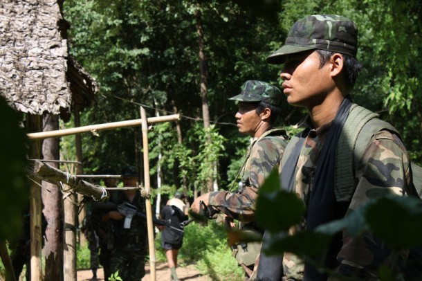 KNU soldiers in their front line on Thailand-Burma border. (Photo: Saw Yan Naing / The Irrawaddy)