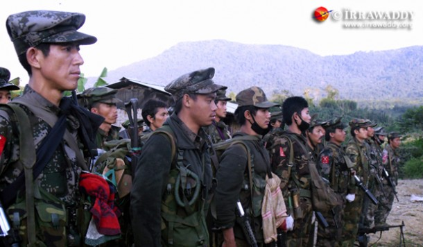 KIA troops stand at attention during a military drill at a base in Kachin State. (Photo: The Irrawaddy)