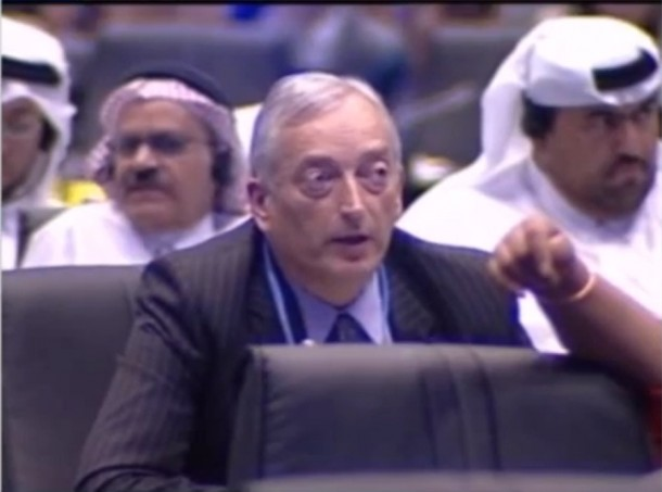 Lord Monckton addresses the UN climate change summit in Doha, Qatar, posing as a Burmese delegate. (Photo: Youtube)