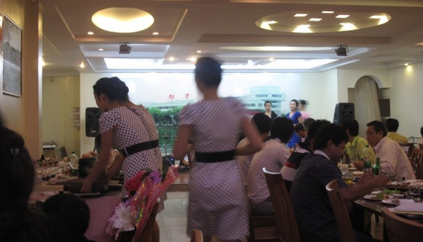 North Korean waitresses hard at work at the Pyongyang Koryo Restaurant in Rangoon. (Photo: Wai Moe / The Irrawaddy)