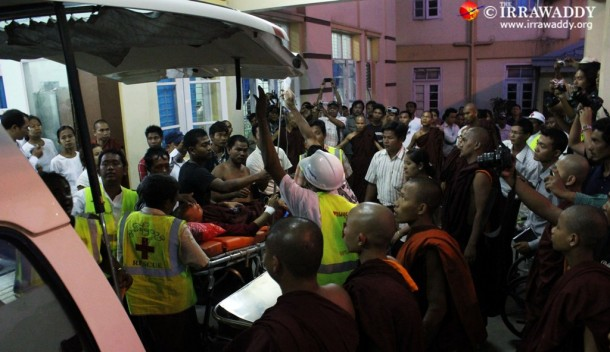Injured monks arrive at Mandalay General Hospital. (Photo: JPaing / The Irrawaddy)