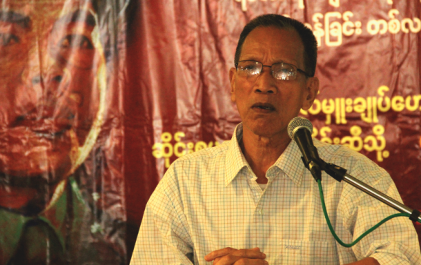 Hla Shwe talking at a memorial ceremony in Rangoon. (Photo: Kaung Nyi Han / The Irrawaddy)