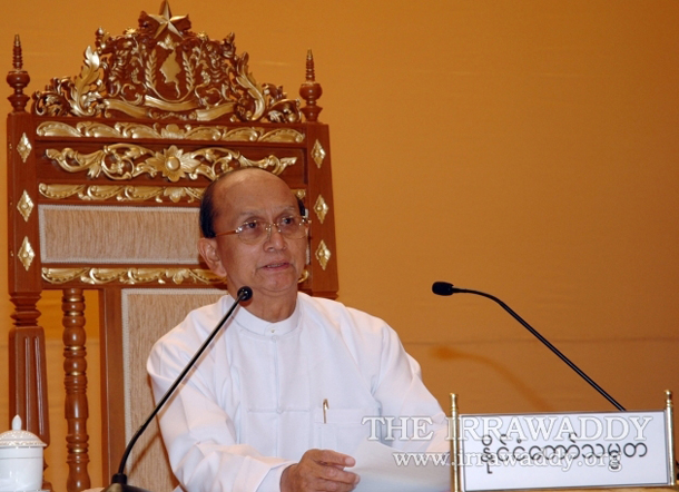 Burma's President Thein Sein delivers a speech in Naypyidaw in April 2011. (Photo: The Irrawaddy)