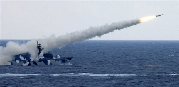 A warship launches a missile during a live-ammunition military drill held by the South China Sea Fleet of the People's Liberation Army (PLA) Navy in the South China Sea on July 26, 2010. (Photo: AP)