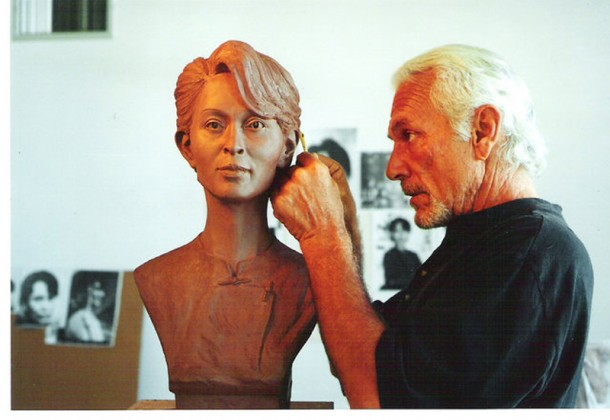 Jim works on his bust of Aung San Suu Kyi. (Photo: Jim McNalis)