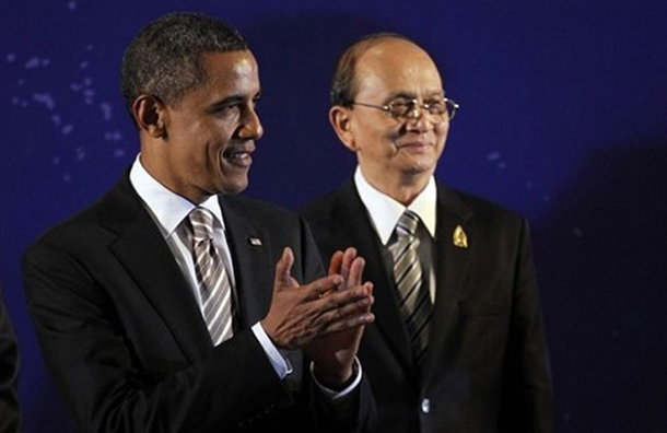 Burmese President Thein Sein, right, and US President Barack Obama share the stage in Bali on Nov. 19, 2011. Relations between the two countries have improved rapidly since this first meeting between the two leaders. (Photo: Reuters)
