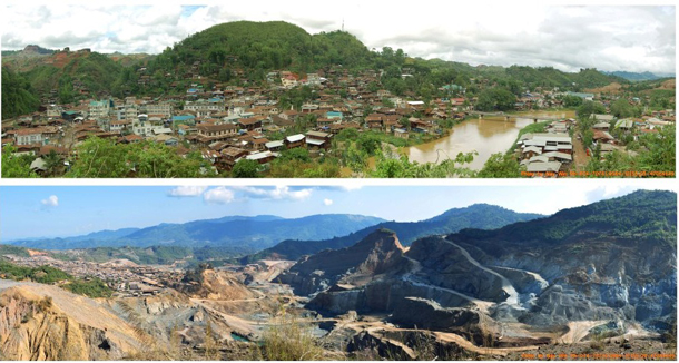 Photo of Hpakant before and after the ceasfire between the KIO and Burma's military. (Photo: KDNG)