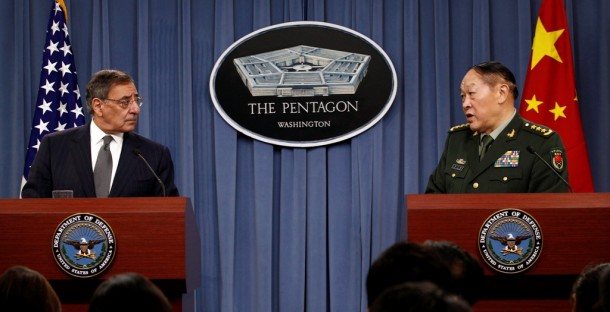 US Secretary of Defense Leon E. Panetta, left, and China's Minister of National Defense Gen Liang Guanglie hold a press conference at the Pentagon on May 7, 2012. Liang said that both countries recognize that all cyber attacks on the US cannot be attributed to China. (Photo: Reuters)