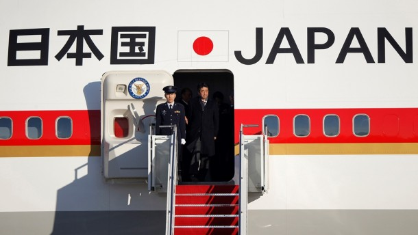 Japan's Prime Minister Shinzo Abe arrives at Andrews Air Force base near Washington on Feb. 21, 2013, a day before his scheduled meeting with US President Barack Obama. (Photo: Reuters)