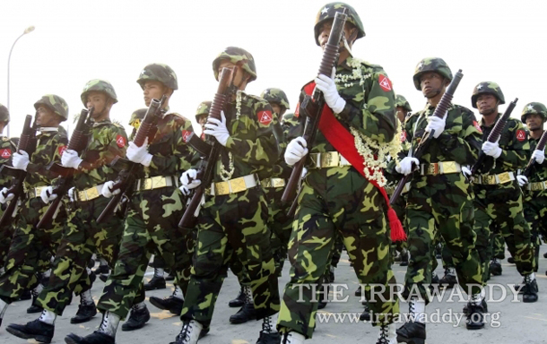 Burmese armed forces soldiers on parade. (Photo: The Irrawaddy)