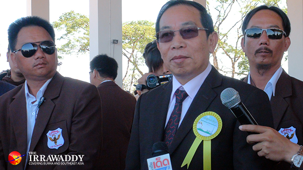 RCSS Chairman Lt-Gen Yawd Serk talks to reporters during the 66th anniversary of Shan State National Day in Loi Tai Leng Township, along the Burma-Thai border on February 7, 2013. (Photo: The Irrawaddy)