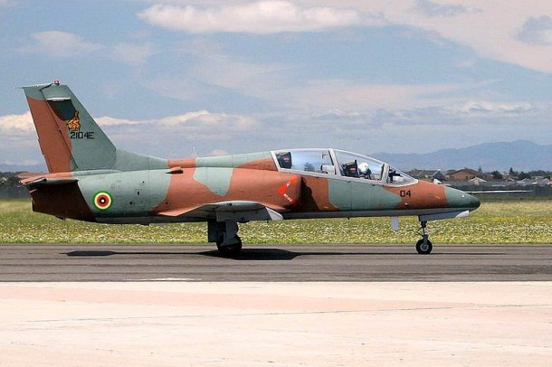 A Chinese-made Hongdu JL-8 jet fighter of the Zimbabwe Air Force is pictured in South Africa in 2006. The Burma Army is believed to have used the same model of jet fighters to attack the Kachin Independence Army in northern Burma. (Photo: Danie van der Merwe / WikiMedia)