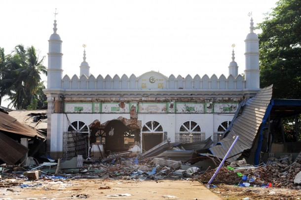 The mosque at Gyobingauk Township, Pegu Division, was attacked by a mob on Monday night, who used a bulldozer to ram through one of its walls. To see more photos click on the box below. (Photo: Steve Tickner / The Irrawaddy)
