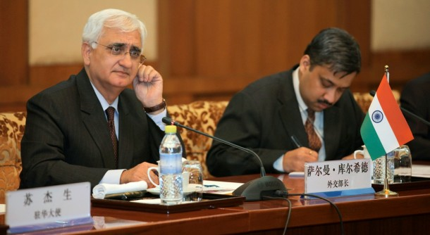 India's Foreign Minister Salman Khurshid, left, attends a meeting with his Chinese counterpart Wang Yi, not pictured, in Beijing on May 9, 2013. (Photo: Reuters / China Daily)