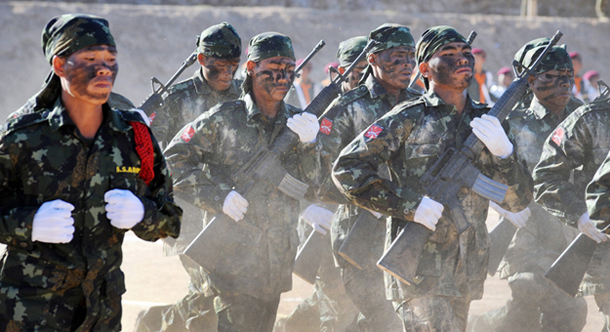 SSA-South soldiers go through their paces during training. (Photo: Steve Tickner / The Irrawaddy)