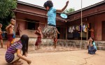 Girls play in the courtyard of Su Taung Pyae charity school, shortly before the end of long summer holiday. (JPaing / The Irrawaddy)