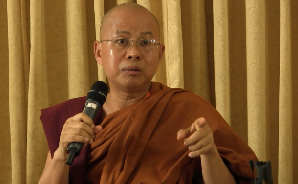 Buddhist monk U Dhammapiya speaks during a press conference on Thursday. (Photo: The Irrawaddy)