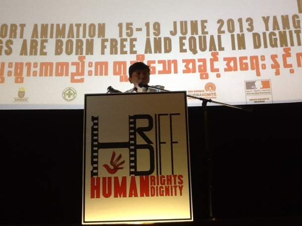 "Award-winning Burmese filmmaker Min Htin Ko Ko Gyi speaks at the ""Human Rights Human Dignity"" international film festival, which he organized in Rangoon. (Photo: Lawi Weng / The Irrawaddy)"