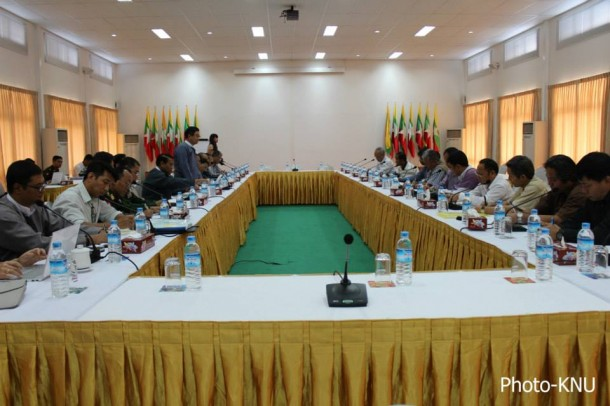 President's Office Minister Aung Min, standing at left, addresses Karen National Union (KNU) delegates in Rangoon during a meeting over the weekend. (Photo: KNU).