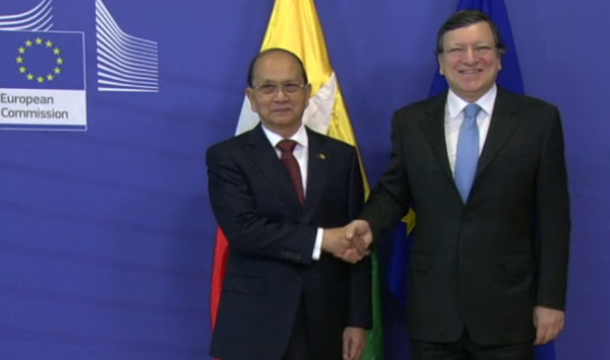 Burma's President Thein Sein shakes hands with European Commission President Manuel Barroso in Brussels, Belgium, in March. (Photo: screen grab from video www.ec.europa.eu)