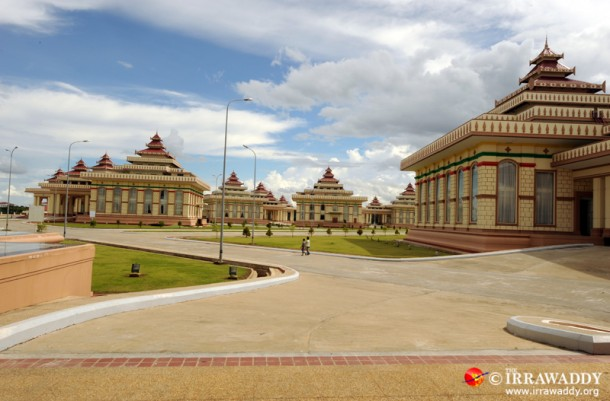 Naypyidaw's government district features a landscape of modern interpretations of Burmese style monumental architecture, but is almost devoid of human activity. The Burmese capital is hosting the World Economic Forum this week. (Photo: Steve Tickner / The Irrawaddy)