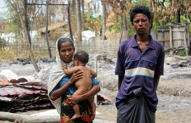 A Rohingya Muslim family in Pauktaw Township, Arakan State. (Photo: JPaing / The Irrawaddy)