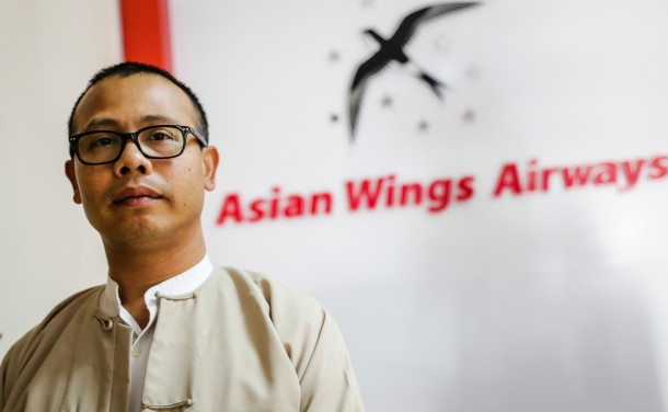 Lwin Moe is the executive director of Asian Wings Airways. (Photo: JPaing / The Irrawaddy)